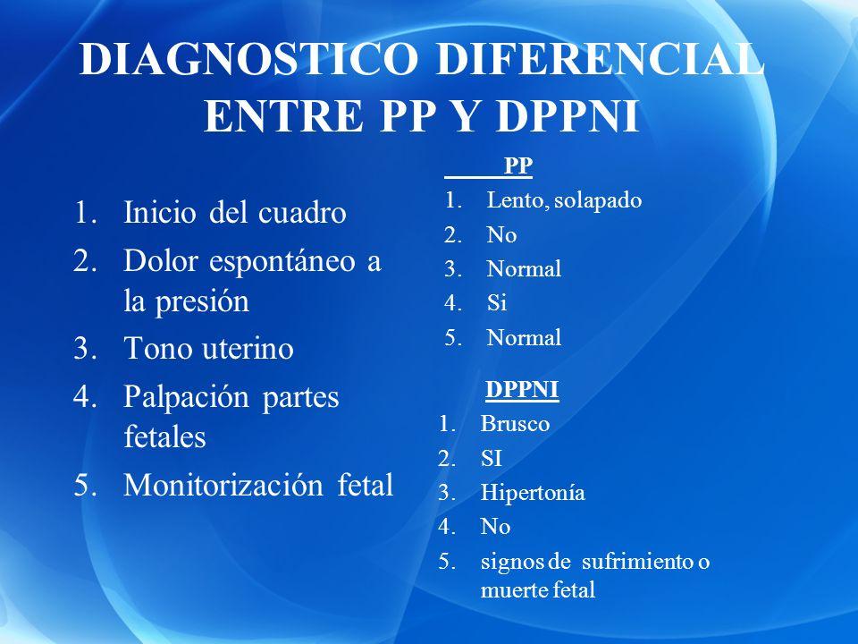 DIAGNOSTICO DIFERENCIAL ENTRE PP Y DPPNI 1.Inicio del cuadro 2.Dolor espontáneo a la presión 3.Tono uterino 4.Palpación partes fetales 5.Monitorizació