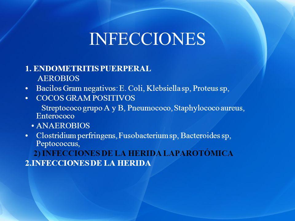 INFECCIONES 1. ENDOMETRITIS PUERPERAL AEROBIOS Bacilos Gram negativos: E. Coli, Klebsiella sp, Proteus sp, COCOS GRAM POSITIVOS Streptococo grupo A y