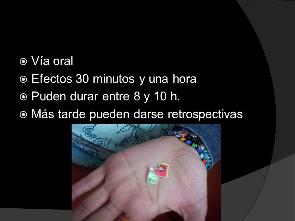 Vía oral Efectos 30 minutos y una hora Puden durar entre 8 y 10 h. Más tarde pueden darse retrospectivas