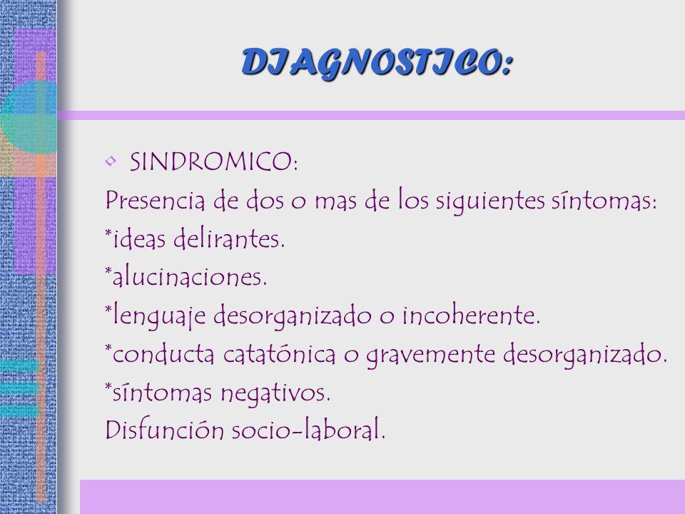 DIAGNOSTICO: SINDROMICO: Presencia de dos o mas de los siguientes síntomas: *ideas delirantes. *alucinaciones. *lenguaje desorganizado o incoherente.