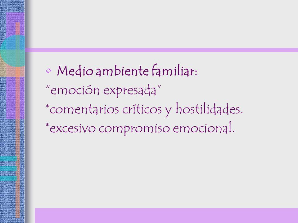 Medio ambiente familiar: emoción expresada *comentarios críticos y hostilidades. *excesivo compromiso emocional.
