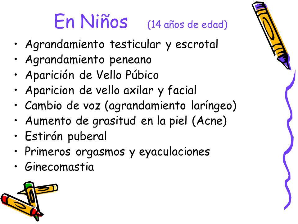 En Niños (14 años de edad) Agrandamiento testicular y escrotal Agrandamiento peneano Aparición de Vello Púbico Aparicion de vello axilar y facial Camb
