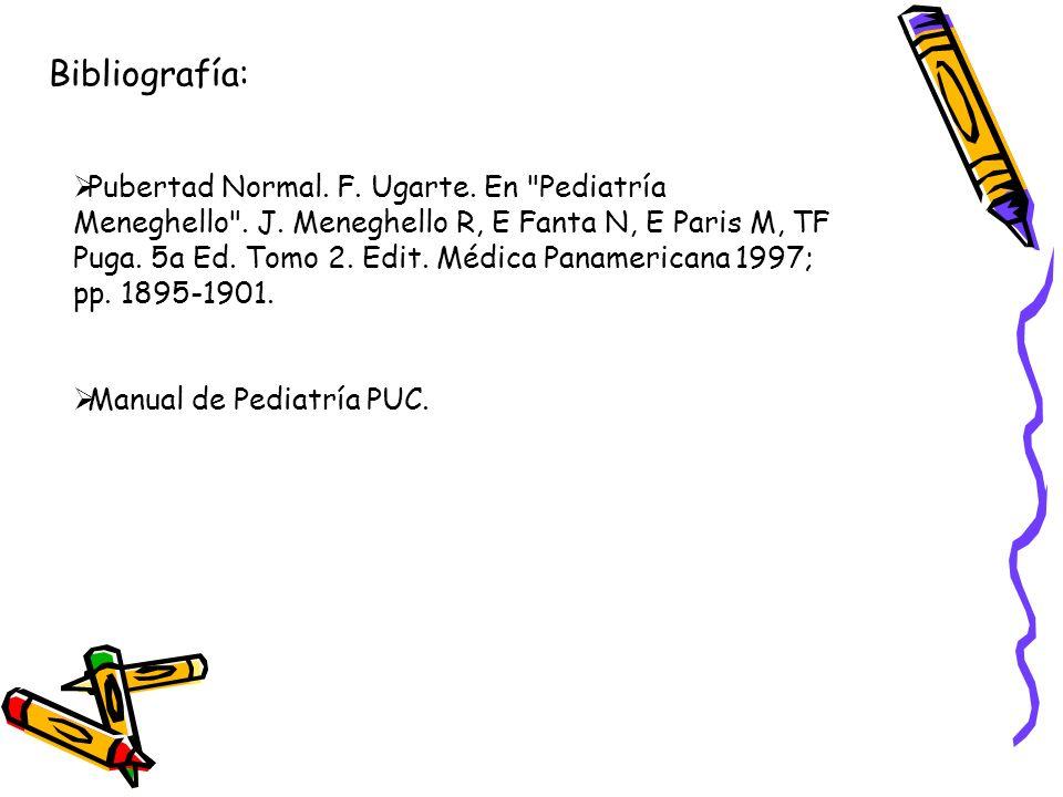 Bibliografía: Pubertad Normal. F. Ugarte. En