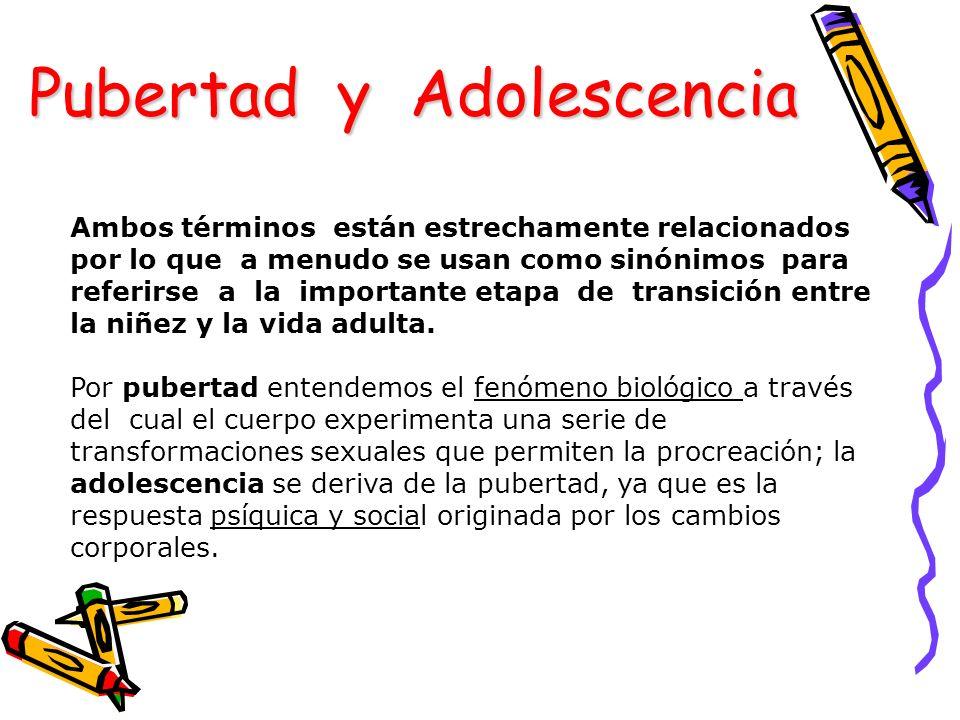 Adolescencia Es el período de transición durante el cual el niño se transforma en un individuo maduro en sus aspectos físico, sexual, psicológico y social Involucra los aspectos biológicos de la adolescencia: Aparición de caracteres sexuales secundarios Estirón puberal Capacidad reproductiva Pubertad