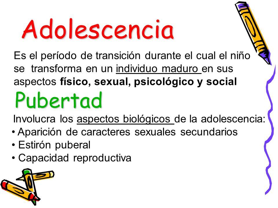 Adolescencia Es el período de transición durante el cual el niño se transforma en un individuo maduro en sus aspectos físico, sexual, psicológico y so