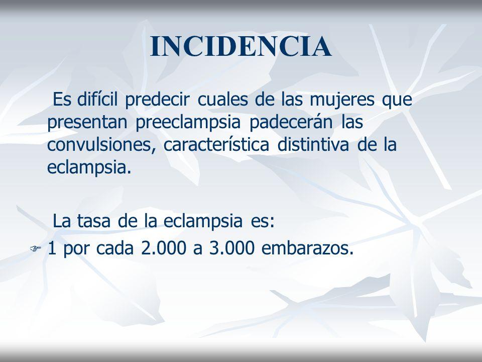 INCIDENCIA Es difícil predecir cuales de las mujeres que presentan preeclampsia padecerán las convulsiones, característica distintiva de la eclampsia.