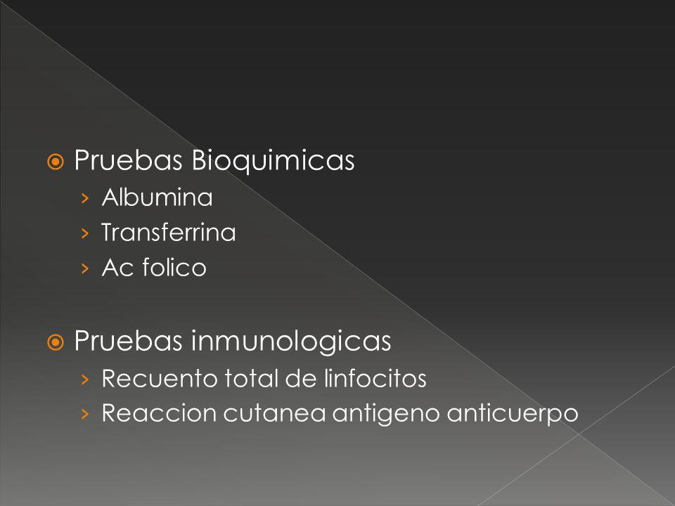 Pruebas Bioquimicas Albumina Transferrina Ac folico Pruebas inmunologicas Recuento total de linfocitos Reaccion cutanea antigeno anticuerpo