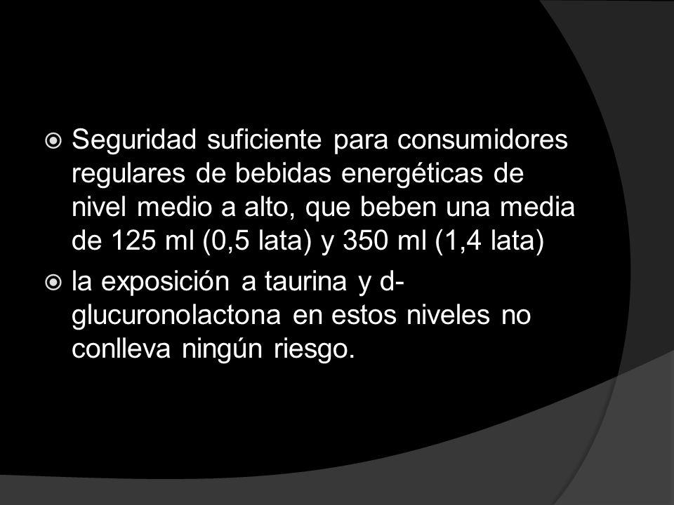 Seguridad suficiente para consumidores regulares de bebidas energéticas de nivel medio a alto, que beben una media de 125 ml (0,5 lata) y 350 ml (1,4