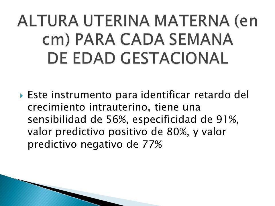 Este instrumento para identificar retardo del crecimiento intrauterino, tiene una sensibilidad de 56%, especificidad de 91%, valor predictivo positivo