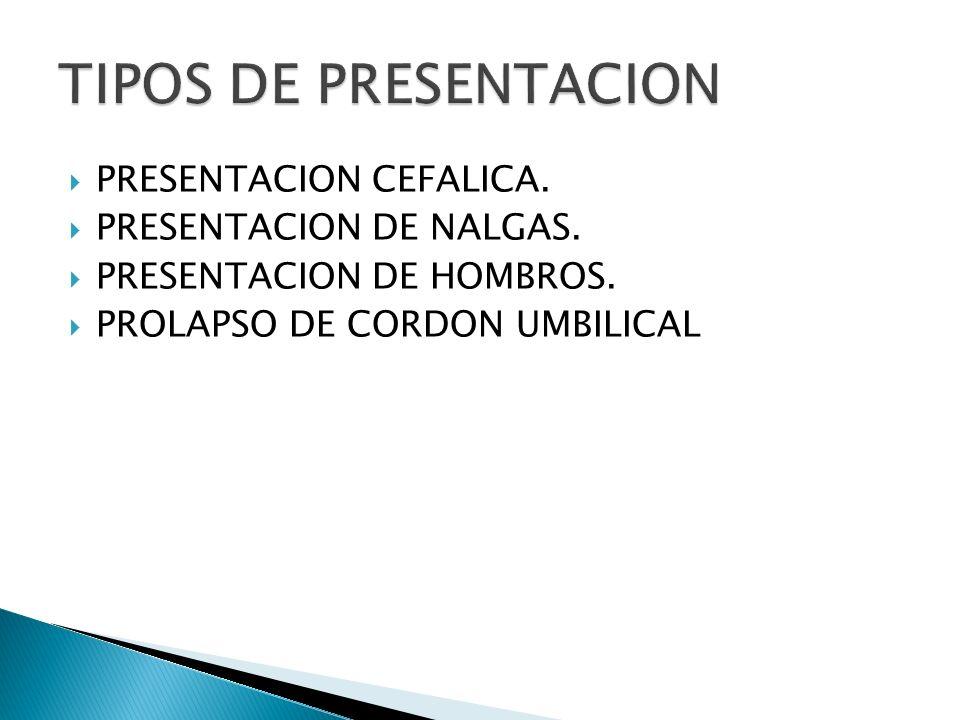 PRESENTACION CEFALICA. PRESENTACION DE NALGAS. PRESENTACION DE HOMBROS. PROLAPSO DE CORDON UMBILICAL