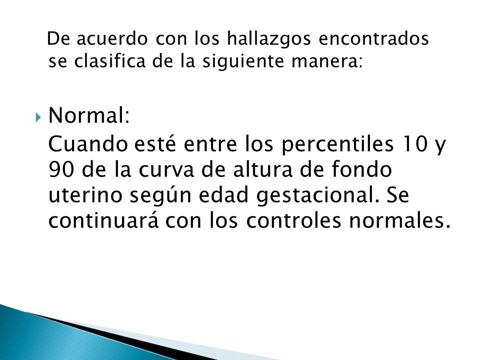 De acuerdo con los hallazgos encontrados se clasifica de la siguiente manera: Normal: Cuando esté entre los percentiles 10 y 90 de la curva de altura
