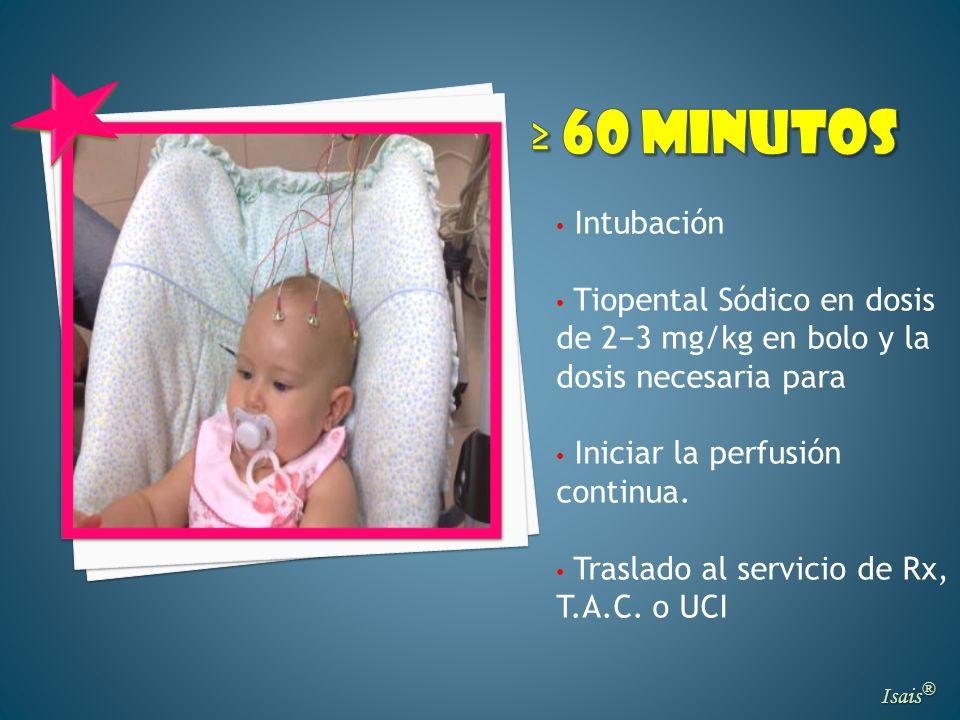 Isais ® Intubación Tiopental Sódico en dosis de 23 mg/kg en bolo y la dosis necesaria para Iniciar la perfusión continua. Traslado al servicio de Rx,