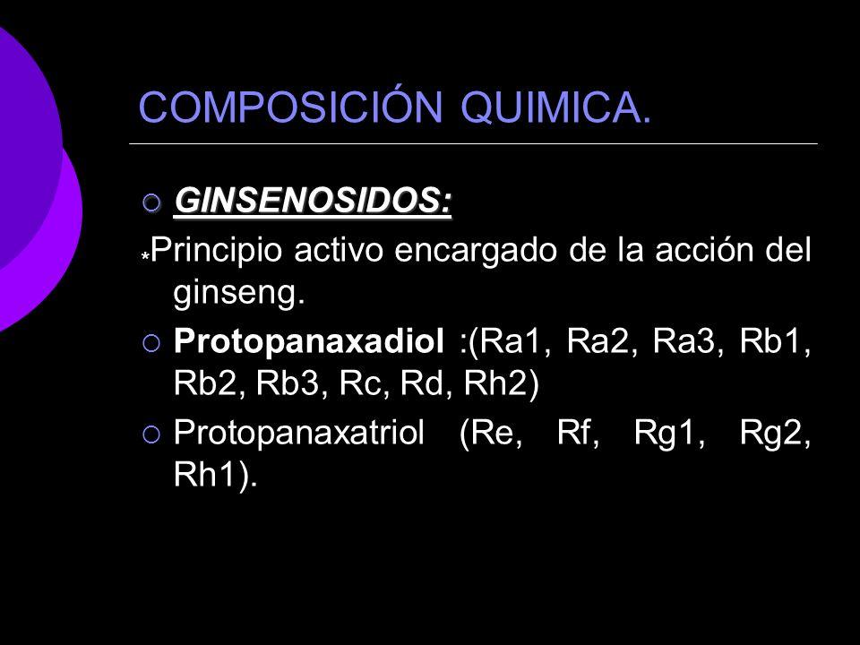 COMPOSICIÓN QUIMICA. GINSENOSIDOS: GINSENOSIDOS: * Principio activo encargado de la acción del ginseng. Protopanaxadiol :(Ra1, Ra2, Ra3, Rb1, Rb2, Rb3