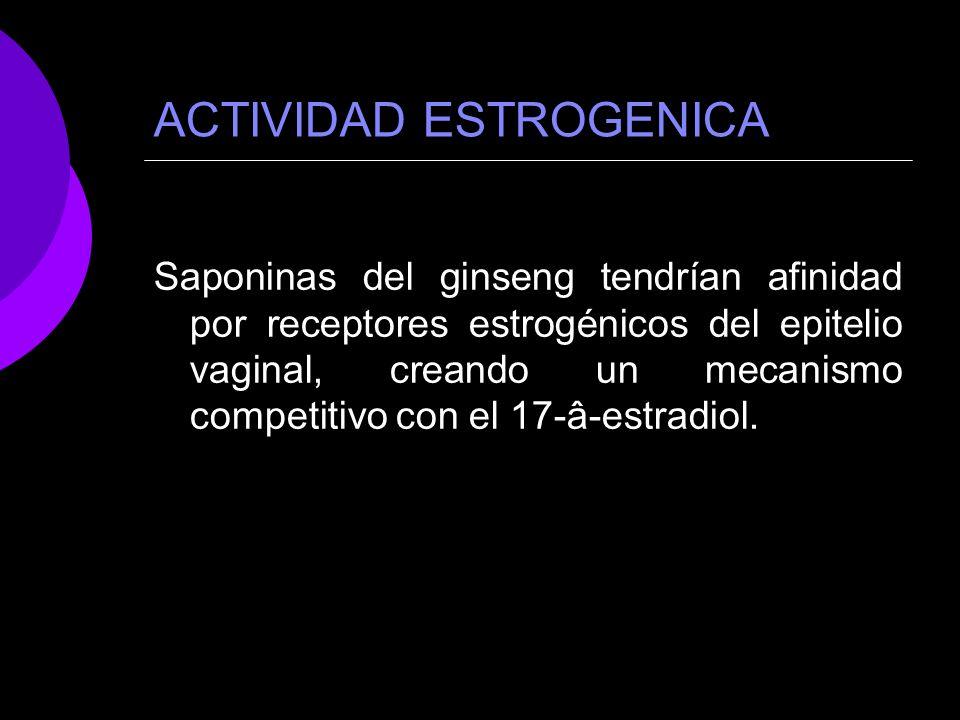 ACTIVIDAD ESTROGENICA Saponinas del ginseng tendrían afinidad por receptores estrogénicos del epitelio vaginal, creando un mecanismo competitivo con e