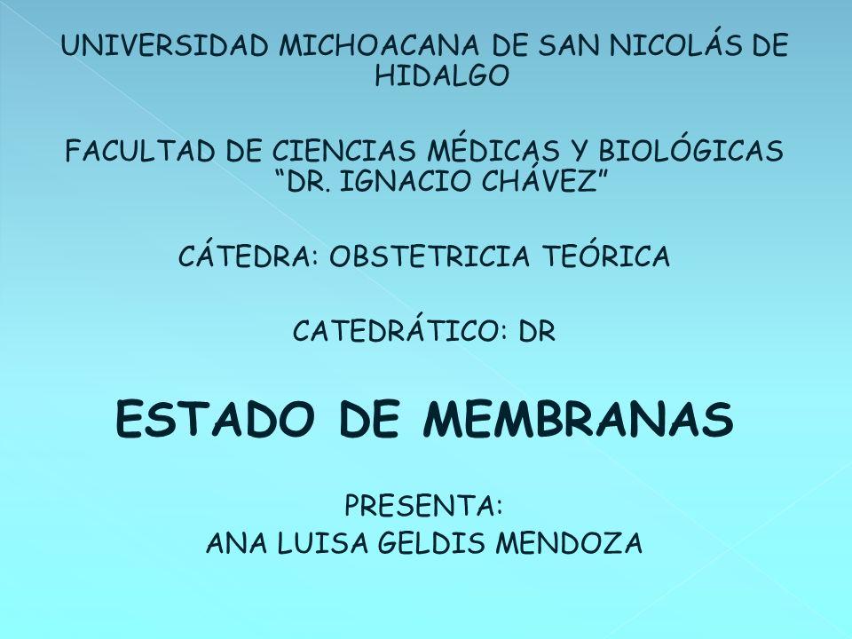UNIVERSIDAD MICHOACANA DE SAN NICOLÁS DE HIDALGO FACULTAD DE CIENCIAS MÉDICAS Y BIOLÓGICAS DR. IGNACIO CHÁVEZ CÁTEDRA: OBSTETRICIA TEÓRICA CATEDRÁTICO