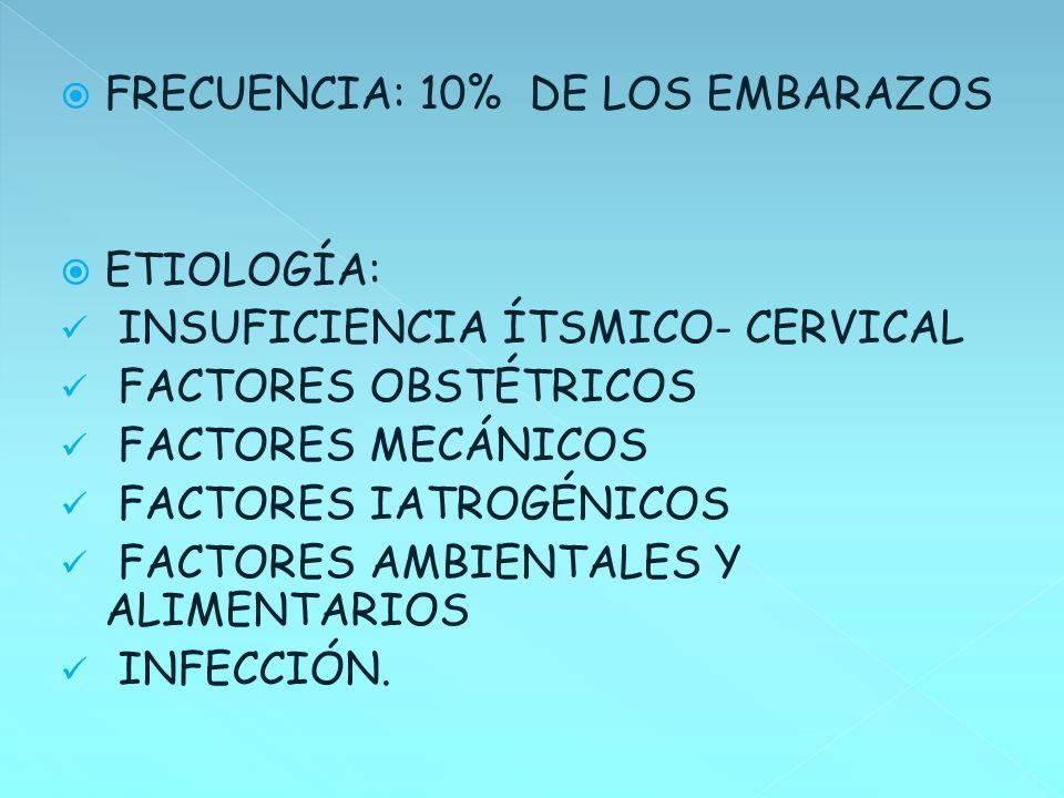 FRECUENCIA: 10% DE LOS EMBARAZOS ETIOLOGÍA: INSUFICIENCIA ÍTSMICO- CERVICAL FACTORES OBSTÉTRICOS FACTORES MECÁNICOS FACTORES IATROGÉNICOS FACTORES AMB