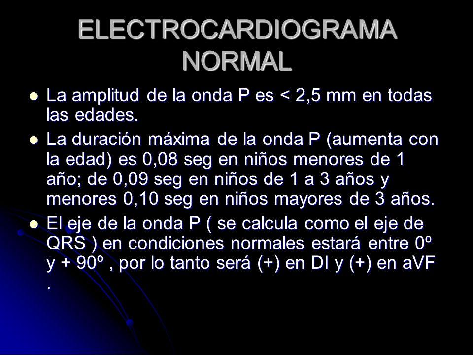 ELECTROCARDIOGRAMA NORMAL La amplitud de la onda P es < 2,5 mm en todas las edades. La amplitud de la onda P es < 2,5 mm en todas las edades. La durac