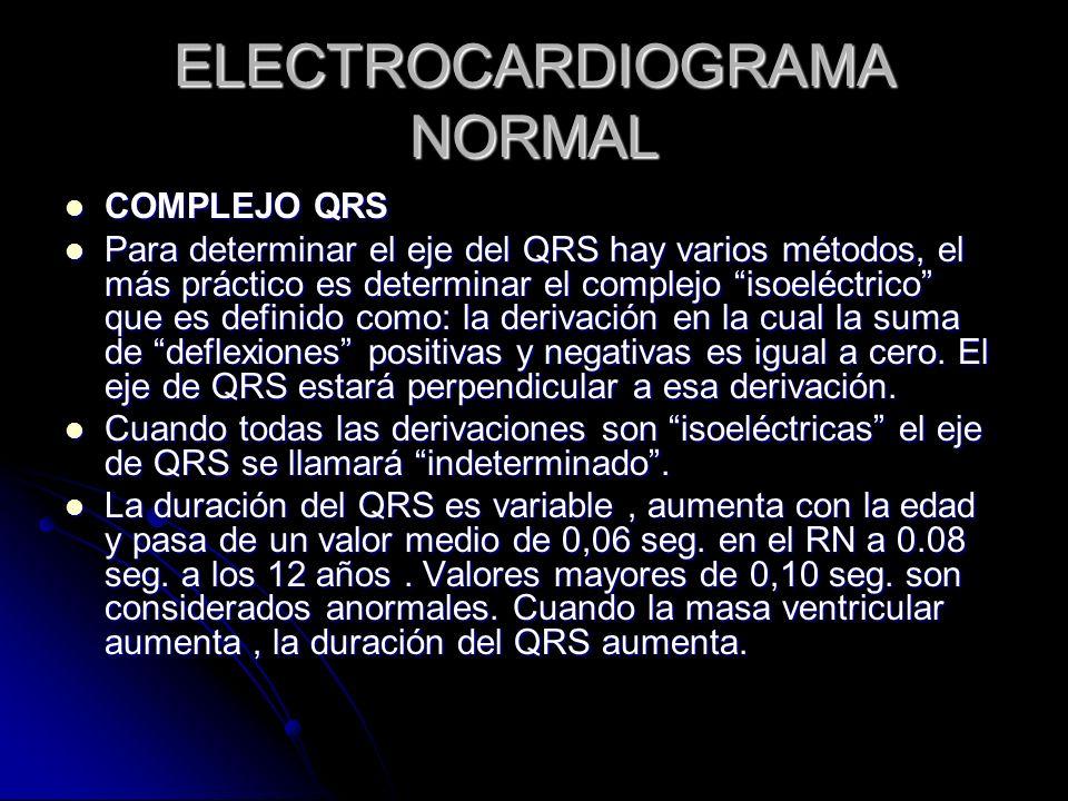 ELECTROCARDIOGRAMA NORMAL COMPLEJO QRS COMPLEJO QRS Para determinar el eje del QRS hay varios métodos, el más práctico es determinar el complejo isoel