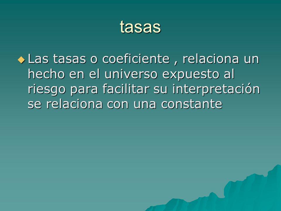 tasas Las tasas o coeficiente, relaciona un hecho en el universo expuesto al riesgo para facilitar su interpretación se relaciona con una constante La