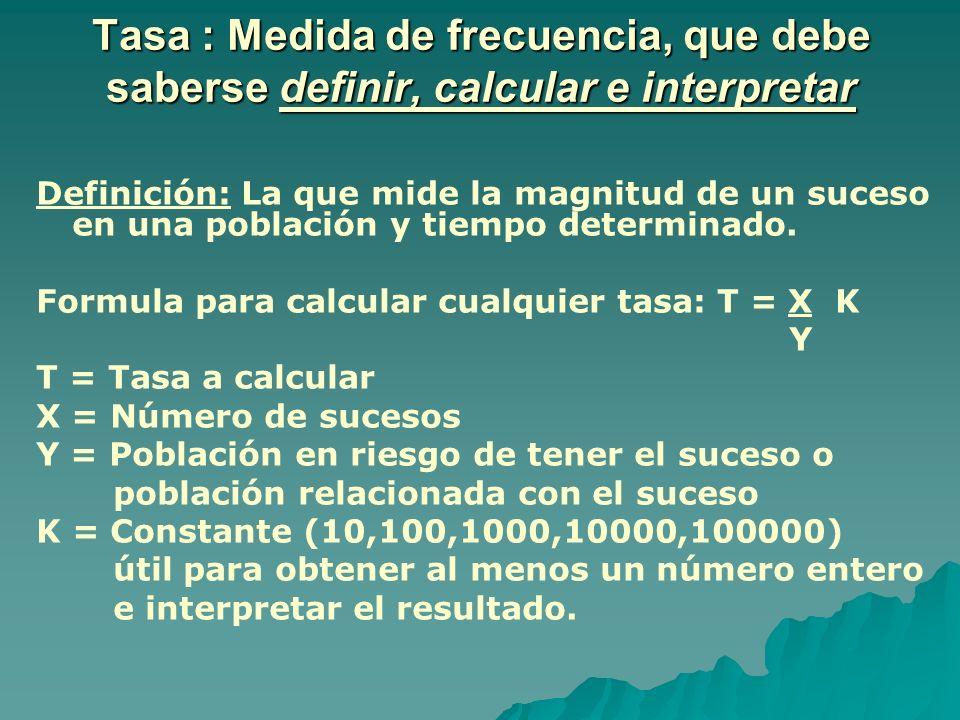 Tasa : Medida de frecuencia, que debe saberse definir, calcular e interpretar Definición: La que mide la magnitud de un suceso en una población y tiem