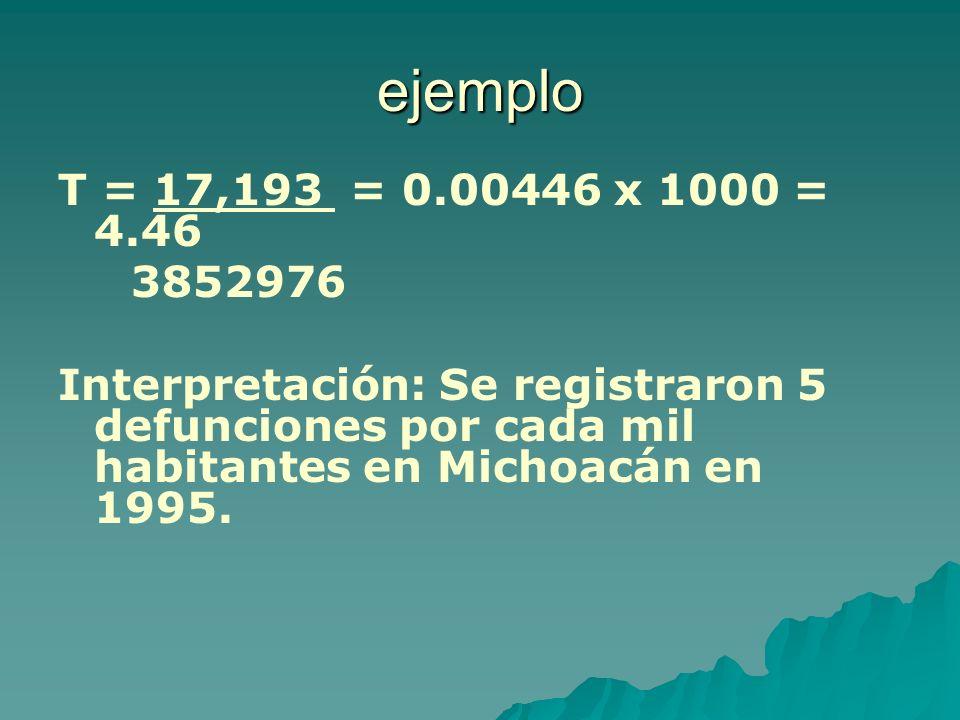 ejemplo T = 17,193 = 0.00446 x 1000 = 4.46 3852976 Interpretación: Se registraron 5 defunciones por cada mil habitantes en Michoacán en 1995.