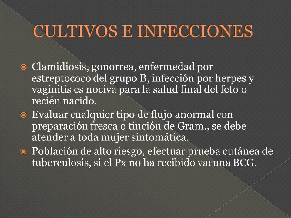 Clamidiosis, gonorrea, enfermedad por estreptococo del grupo B, infección por herpes y vaginitis es nociva para la salud final del feto o recién nacid
