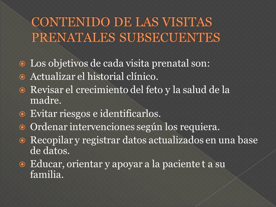 Los objetivos de cada visita prenatal son: Actualizar el historial clínico. Revisar el crecimiento del feto y la salud de la madre. Evitar riesgos e i