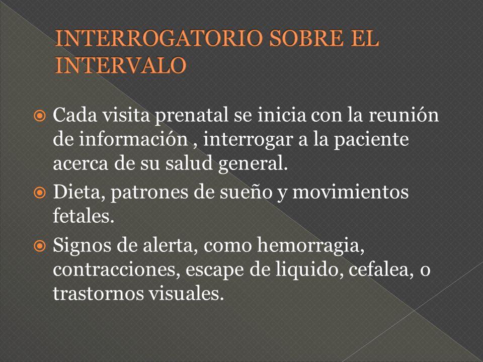 Cada visita prenatal se inicia con la reunión de información, interrogar a la paciente acerca de su salud general. Dieta, patrones de sueño y movimien