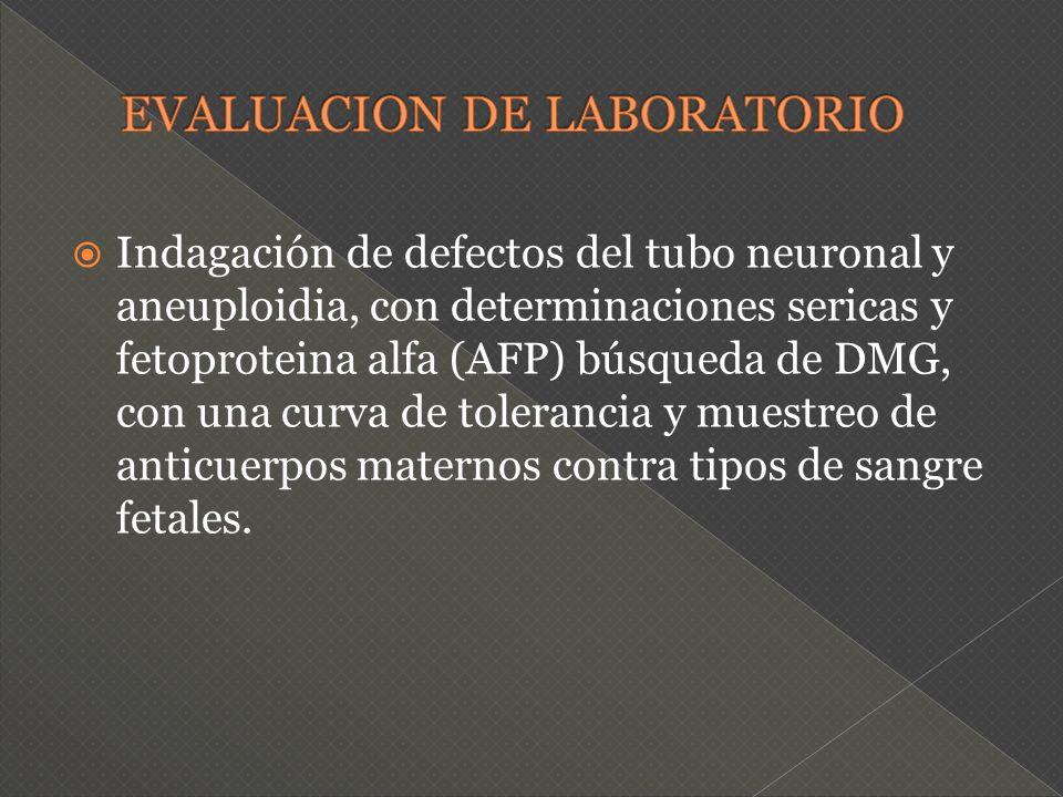 Indagación de defectos del tubo neuronal y aneuploidia, con determinaciones sericas y fetoproteina alfa (AFP) búsqueda de DMG, con una curva de tolera