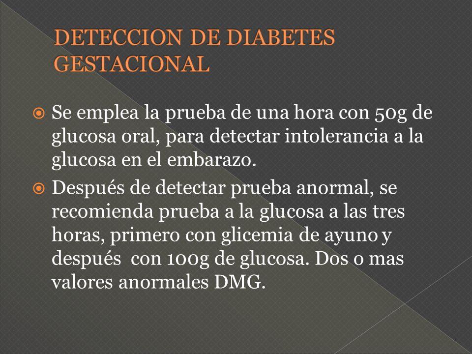 Se emplea la prueba de una hora con 50g de glucosa oral, para detectar intolerancia a la glucosa en el embarazo. Después de detectar prueba anormal, s