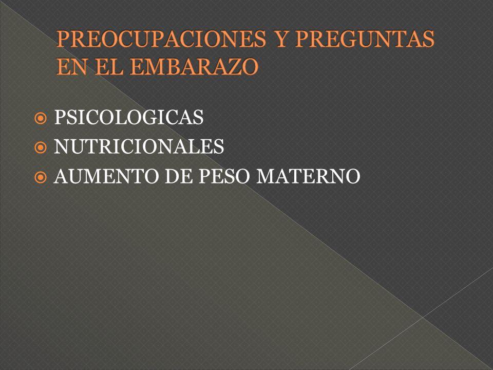 PSICOLOGICAS NUTRICIONALES AUMENTO DE PESO MATERNO