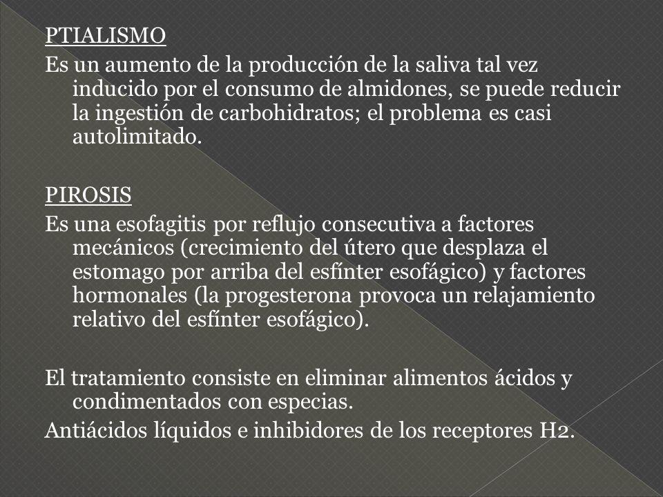 PTIALISMO Es un aumento de la producción de la saliva tal vez inducido por el consumo de almidones, se puede reducir la ingestión de carbohidratos; el
