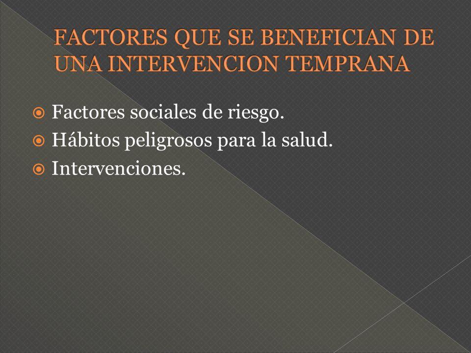 Factores sociales de riesgo. Hábitos peligrosos para la salud. Intervenciones.