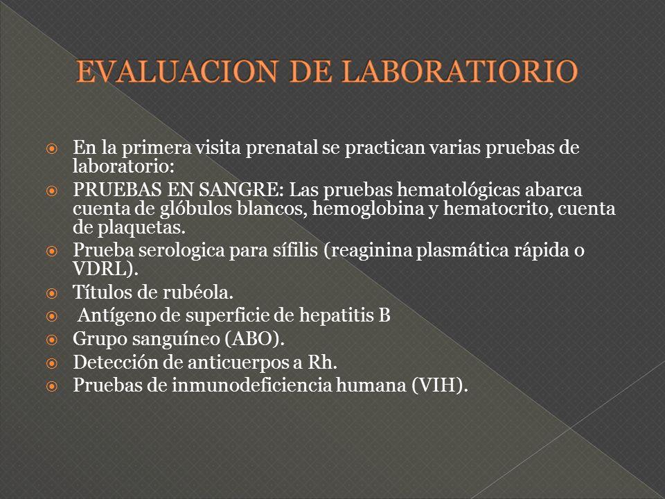 En la primera visita prenatal se practican varias pruebas de laboratorio: PRUEBAS EN SANGRE: Las pruebas hematológicas abarca cuenta de glóbulos blanc