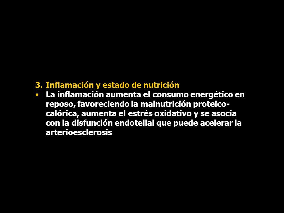 3.Inflamación y estado de nutrición La inflamación aumenta el consumo energético en reposo, favoreciendo la malnutrición proteico- calórica, aumenta e