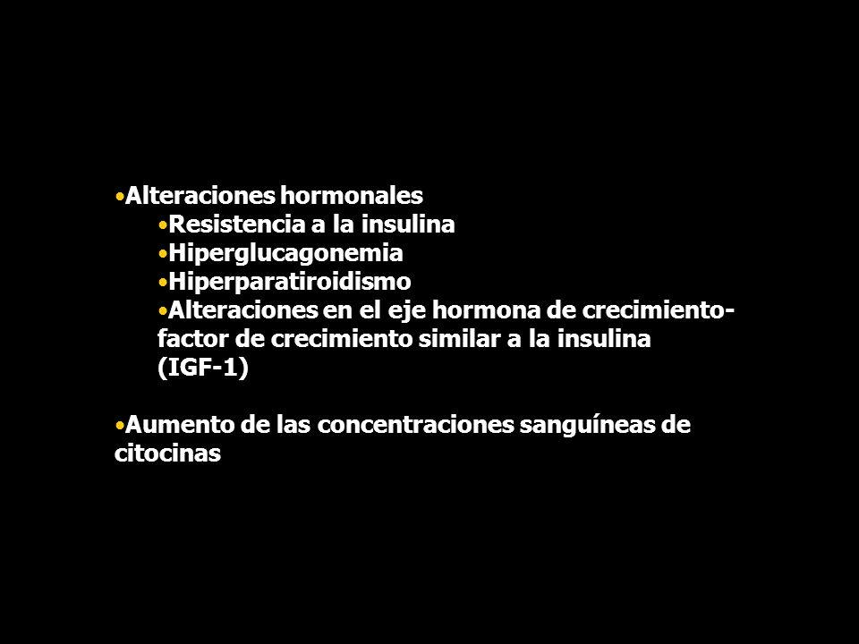 Alteraciones hormonales Resistencia a la insulina Hiperglucagonemia Hiperparatiroidismo Alteraciones en el eje hormona de crecimiento- factor de creci