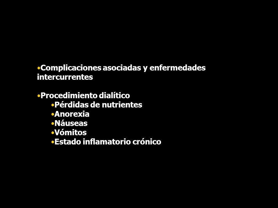 Complicaciones asociadas y enfermedades intercurrentes Procedimiento dialítico Pérdidas de nutrientes Anorexia Náuseas Vómitos Estado inflamatorio cró