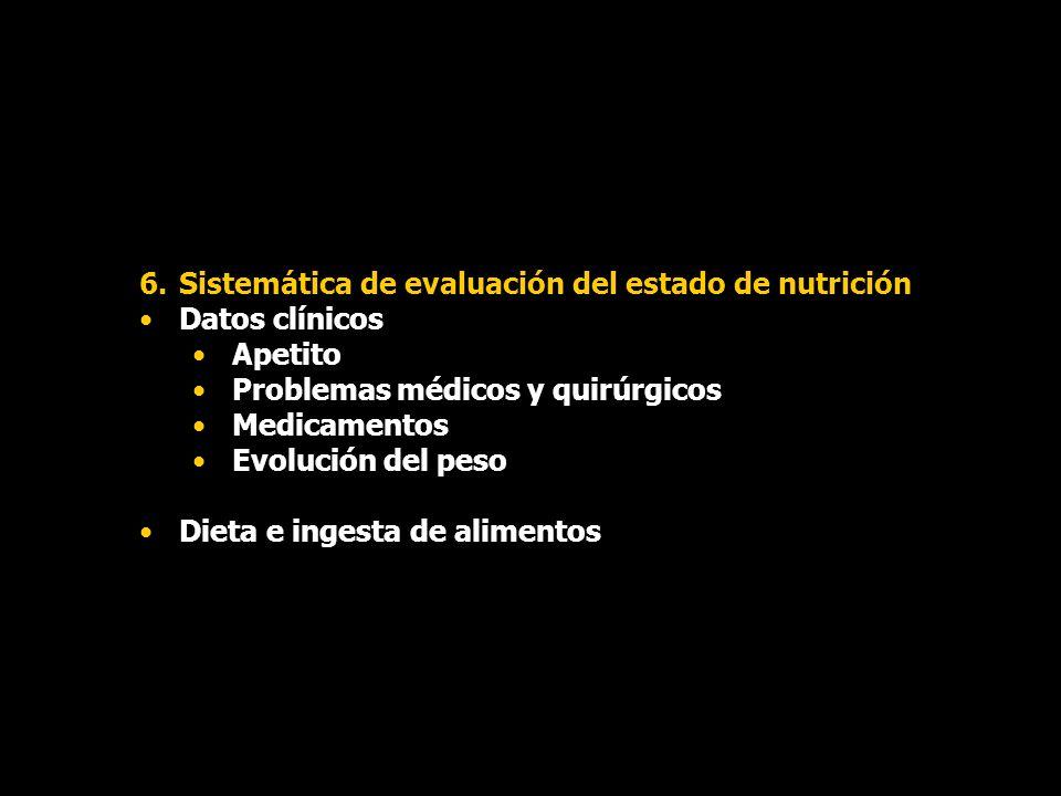 6.Sistemática de evaluación del estado de nutrición Datos clínicos Apetito Problemas médicos y quirúrgicos Medicamentos Evolución del peso Dieta e ing
