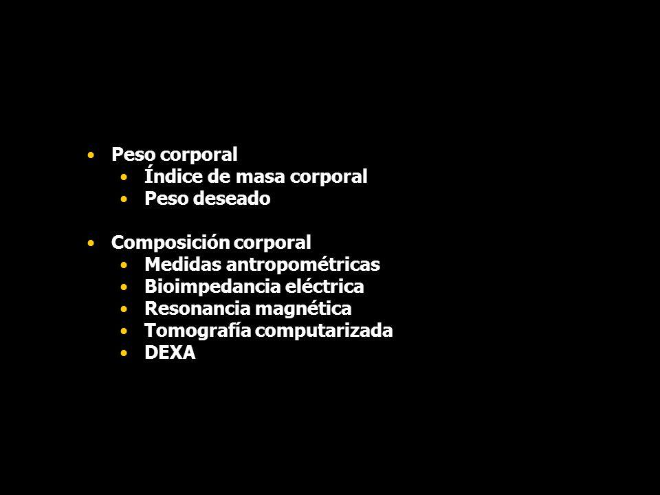 Peso corporal Índice de masa corporal Peso deseado Composición corporal Medidas antropométricas Bioimpedancia eléctrica Resonancia magnética Tomografí