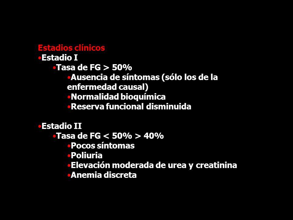 Estadios clínicos Estadio I Tasa de FG > 50% Ausencia de síntomas (sólo los de la enfermedad causal) Normalidad bioquímica Reserva funcional disminuid
