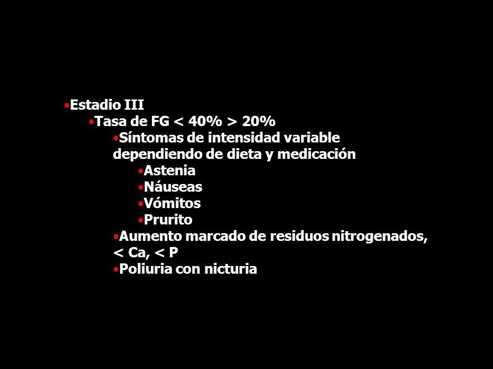Estadio III Tasa de FG 20% Síntomas de intensidad variable dependiendo de dieta y medicación Astenia Náuseas Vómitos Prurito Aumento marcado de residu
