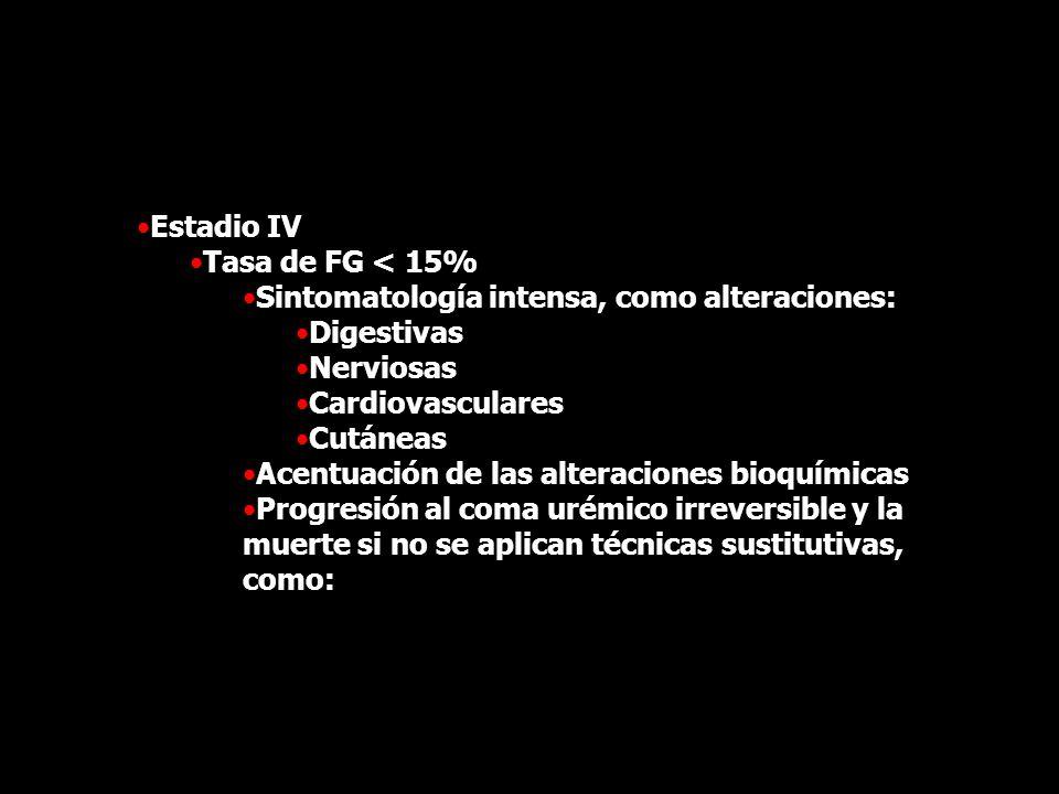Estadio IV Tasa de FG < 15% Sintomatología intensa, como alteraciones: Digestivas Nerviosas Cardiovasculares Cutáneas Acentuación de las alteraciones