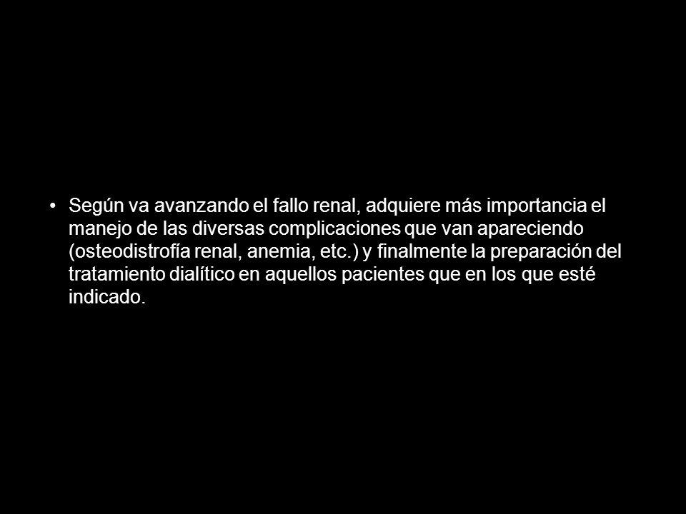 Según va avanzando el fallo renal, adquiere más importancia el manejo de las diversas complicaciones que van apareciendo (osteodistrofía renal, anemia