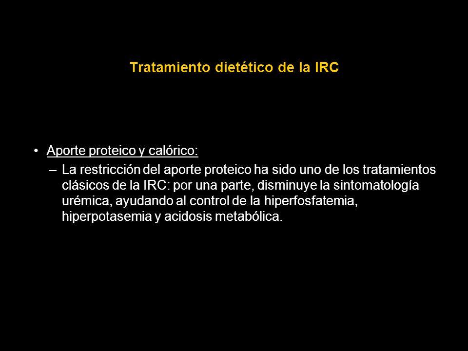 Tratamiento dietético de la IRC Aporte proteico y calórico: –La restricción del aporte proteico ha sido uno de los tratamientos clásicos de la IRC: po