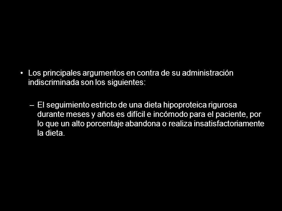 Los principales argumentos en contra de su administración indiscriminada son los siguientes: –El seguimiento estricto de una dieta hipoproteica riguro
