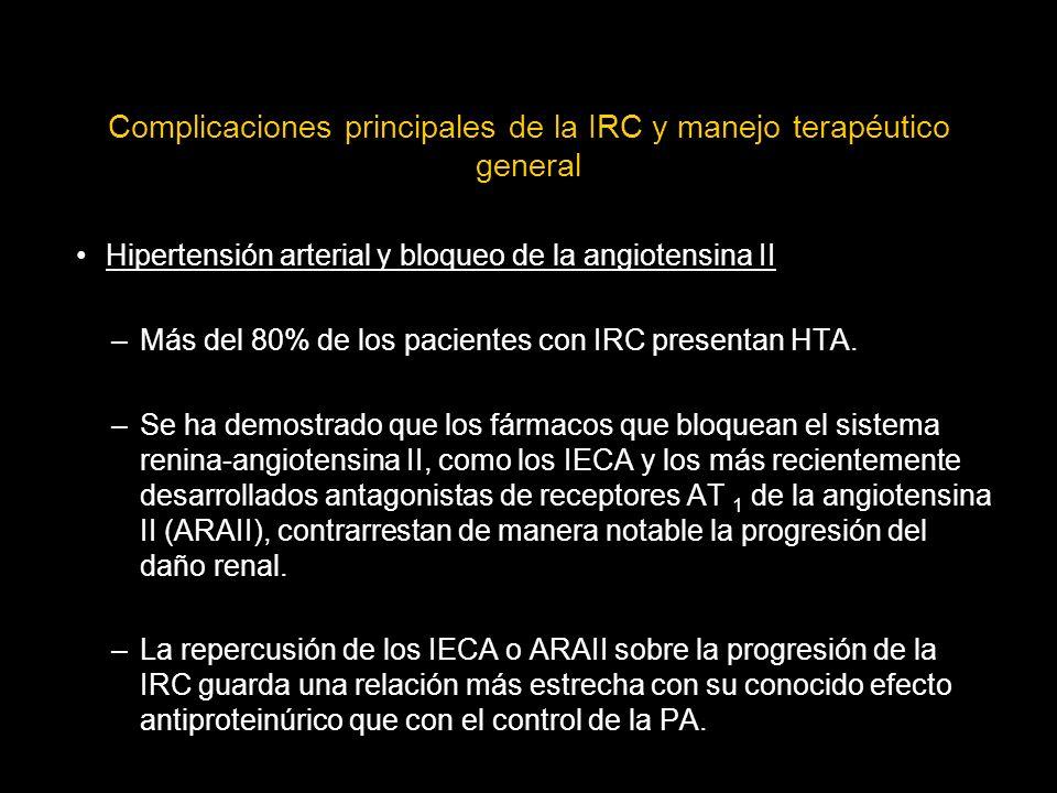 Complicaciones principales de la IRC y manejo terapéutico general Hipertensión arterial y bloqueo de la angiotensina II –Más del 80% de los pacientes