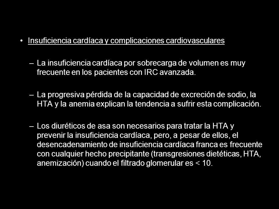Insuficiencia cardíaca y complicaciones cardiovasculares –La insuficiencia cardíaca por sobrecarga de volumen es muy frecuente en los pacientes con IR