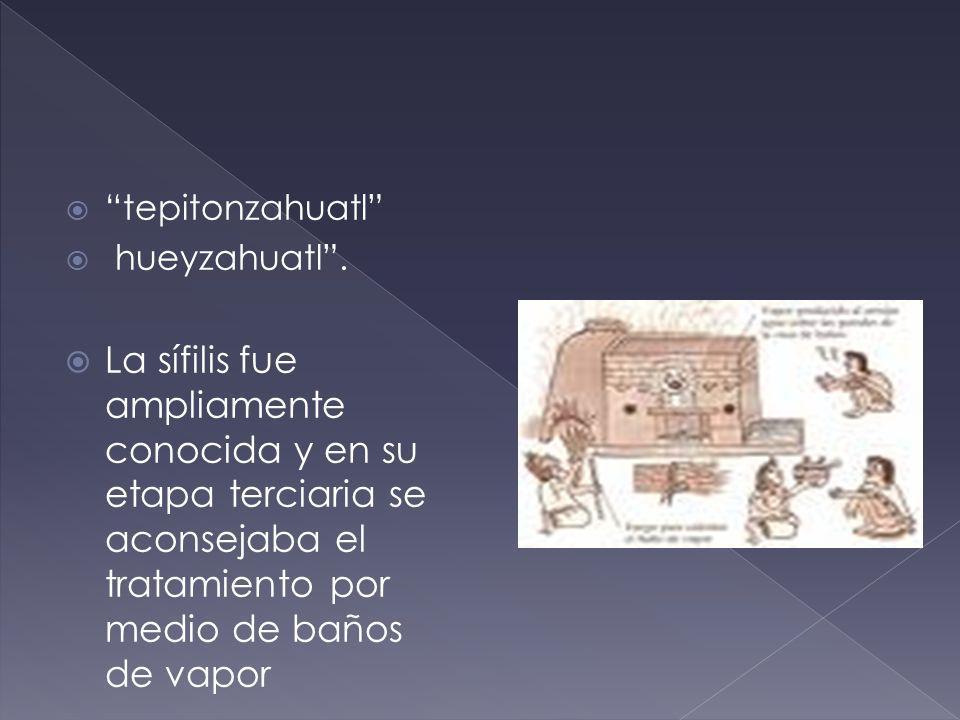 tepitonzahuatl hueyzahuatl. La sífilis fue ampliamente conocida y en su etapa terciaria se aconsejaba el tratamiento por medio de baños de vapor