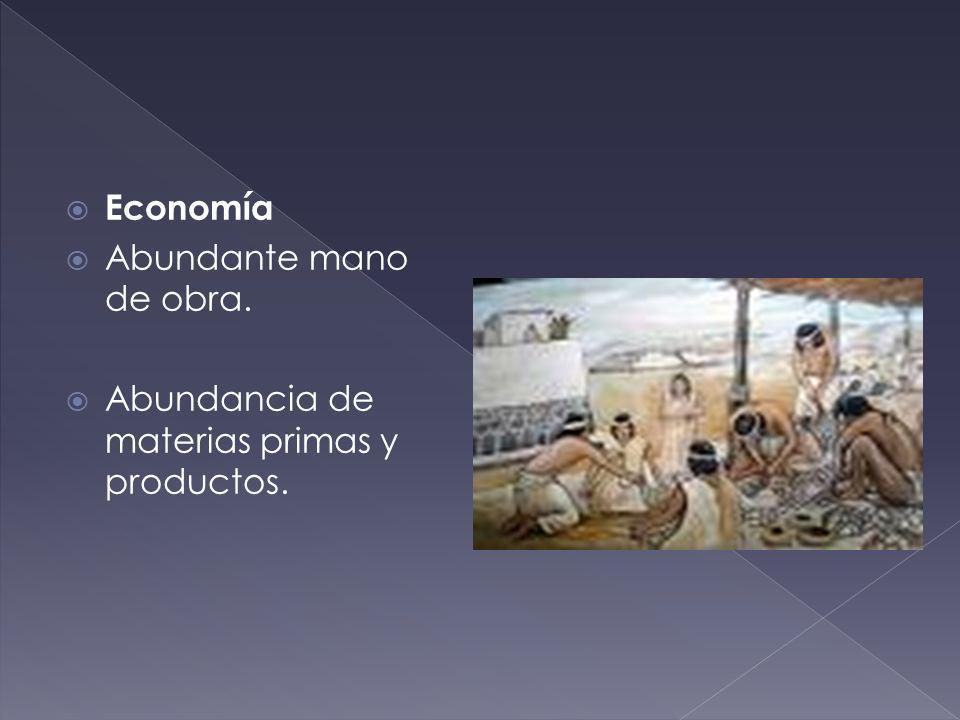 Economía Abundante mano de obra. Abundancia de materias primas y productos.