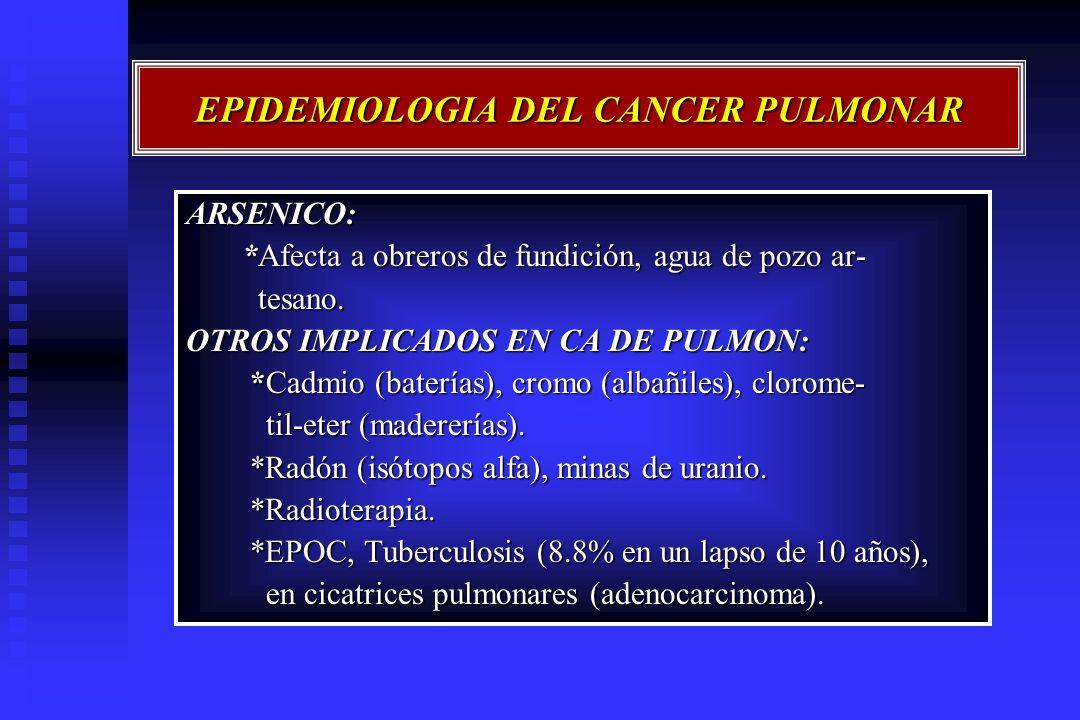 EPIDEMIOLOGIA DEL CANCER PULMONAR ARSENICO: *Afecta a obreros de fundición, agua de pozo ar- *Afecta a obreros de fundición, agua de pozo ar- tesano.